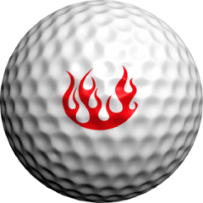 golfdotz Golfball Tattoo, Flamme rot