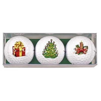 Sportiques 3er Set Geschenk Golfbälle Weihnachten - HoHoHo