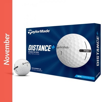 TaylorMade Dstance+ golf balls with logo
